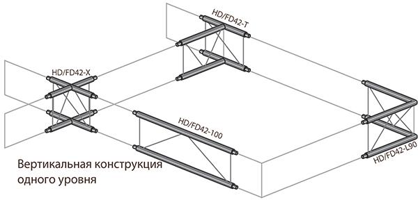 Угловые соединения_Вертикальная конструкиция одного уровня_чертеж